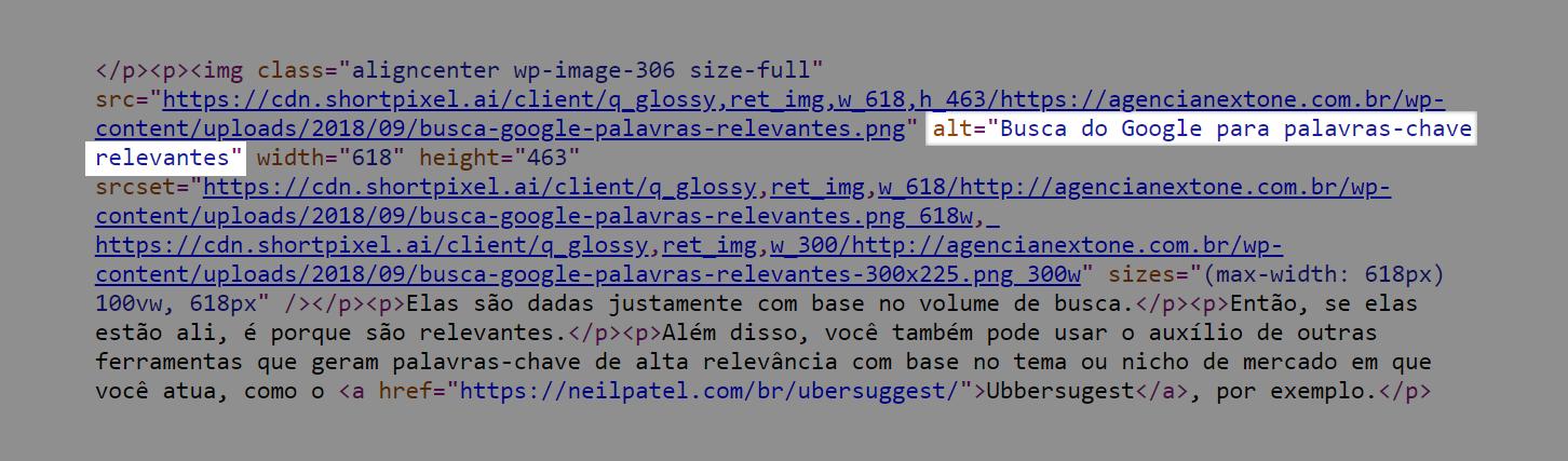 imagem que mostra o atributo alt no código html