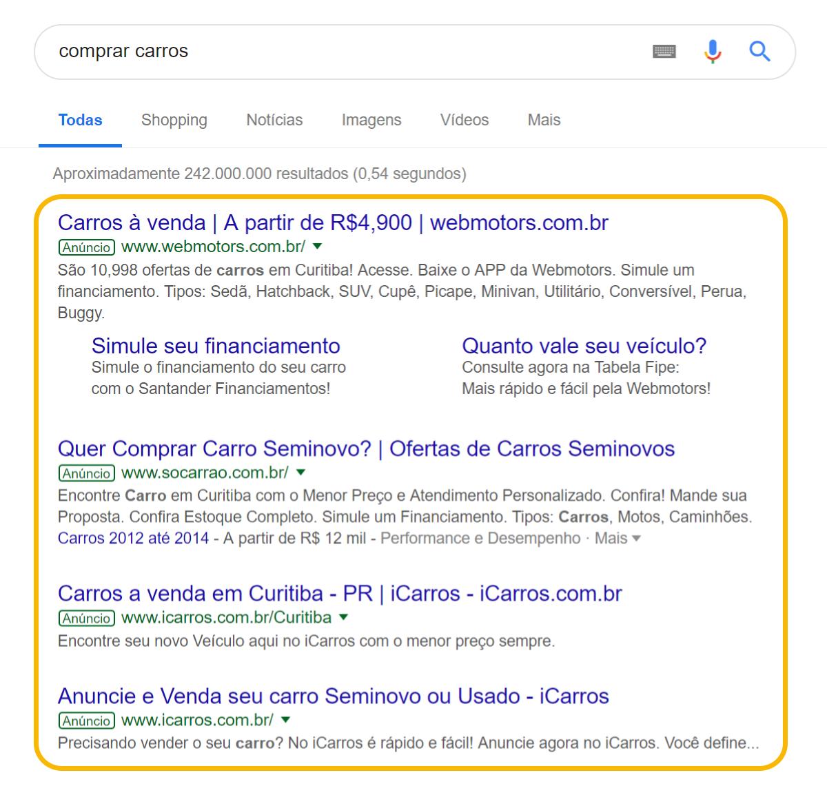 imagem que mostra resultados do Google ADS