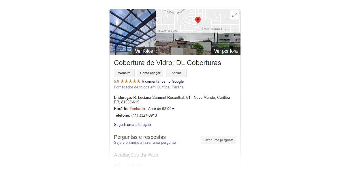 imagem que mostra resultado do Google meu negócio