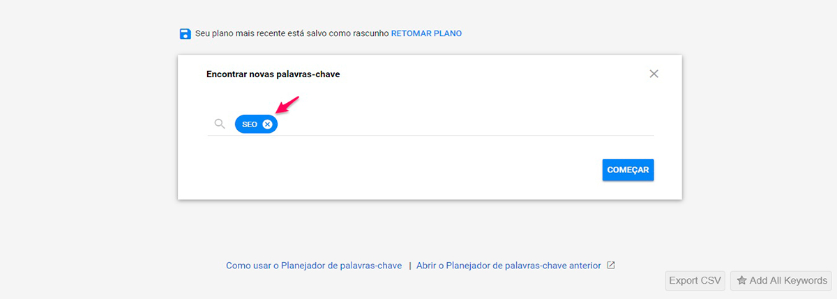 Imagem do Google keyword planner
